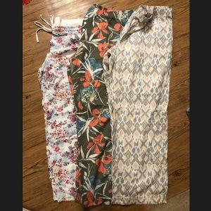 Three pairs of pajama pants